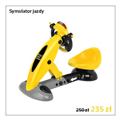 Symulator jazdy dla dzieci wyposażony w klakson i kierunkowskazy